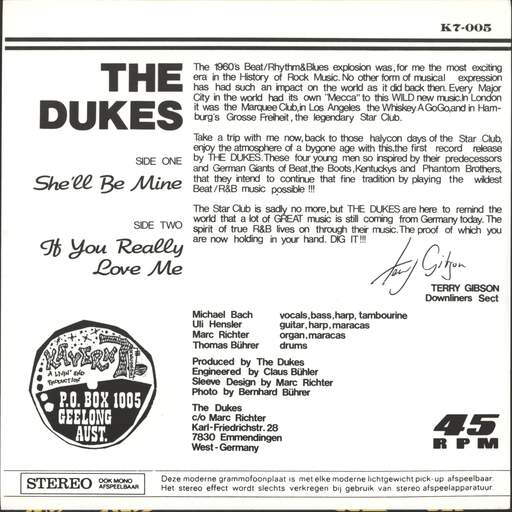 "Dukes: She'll Be Mine, 7"" Single (Vinyl)"