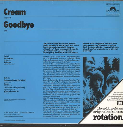 Cream: Goodbye, LP (Vinyl)