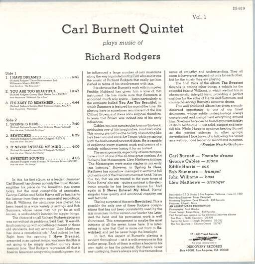 Carl Burnett Quintet: Plays Music Of Richard Rogers, LP (Vinyl)