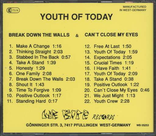 Youth Of Today: Break Down The Walls / Can't Close My Eyes, CD
