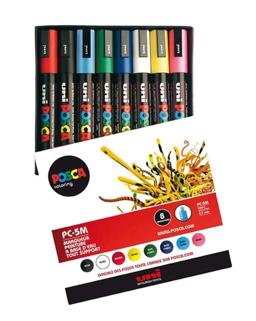 Posca: Uni Posca PC-5M 8er Set BASIC 1, Marker