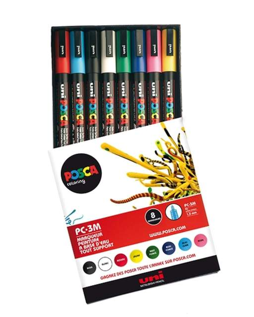 Posca: Uni Posca PC-3M 8er Set BASIC 1, Marker