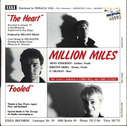 "Million Miles: The Heart, 7"" Single (Vinyl)"