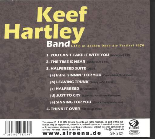 Keef Hartley Band: Live At Aachen Open Air 1970, CD
