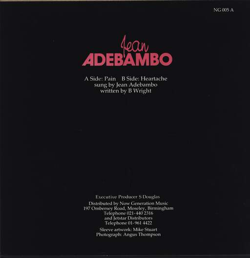 "Jean Adebambo: Pain, 12"" Maxi Single (Vinyl)"