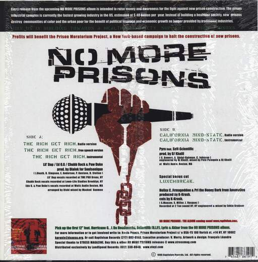 "Various: No More Prisons (The Rich Get Rich / California Mindstate), 12"" Maxi Single (Vinyl)"