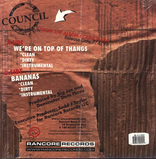 "Council: We're On Top Of Thangs / Bananas, 12"" Maxi Single (Vinyl)"