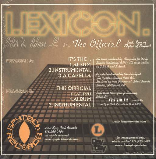 "Lexicon: It's The L / The Official, 12"" Maxi Single (Vinyl)"