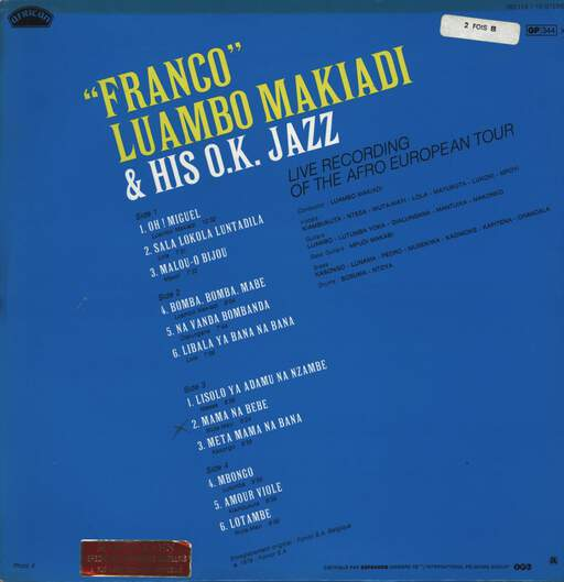 Franco: Live Recording Of The Afro European Tour, LP (Vinyl)