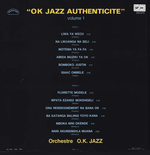 Orchestre T.P.O.K. Jazz: OK Jazz Authencité Volume 1, LP (Vinyl)