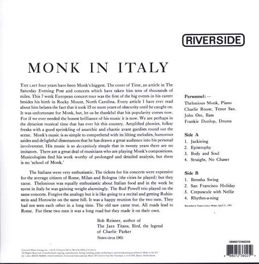 Thelonious Monk: In Italy, LP (Vinyl)