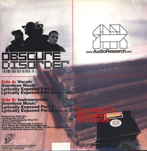 "Obscure Disorder: Overdose Music / Lyrically Exposed, 12"" Maxi Single (Vinyl)"