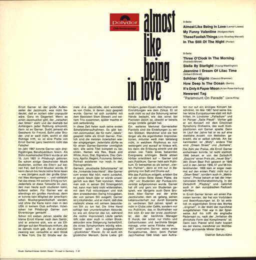 Erroll Garner: Almost Like Being In Love, LP (Vinyl)