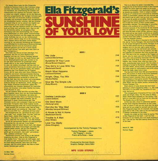 Ella Fitzgerald: Sunshine Of Your Love, LP (Vinyl)
