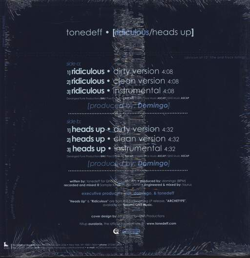 "Tonedeff: Ridiculous / Heads Up, 12"" Maxi Single (Vinyl)"