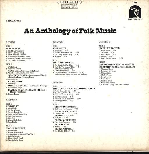 Various: An Anthology Of Folk Music, LP (Vinyl)