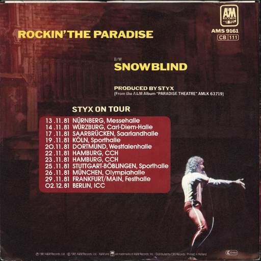 "Styx: Rockin' The Paradise, 7"" Single (Vinyl)"
