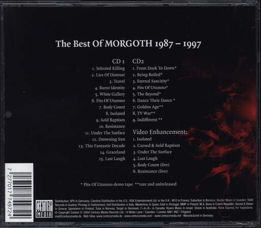 Morgoth: 1987-1997: The Best Of Morgoth, CD