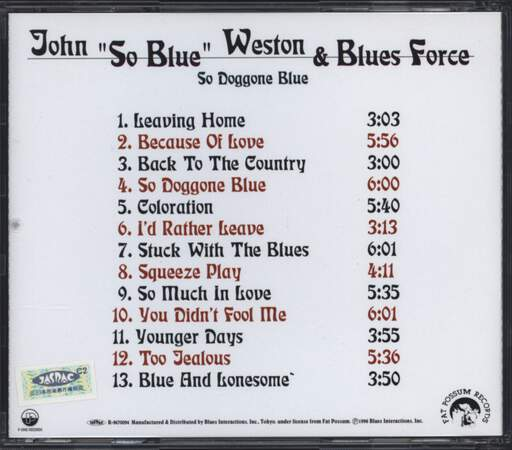 John Weston & Blues Force: So Doggone Blue, CD