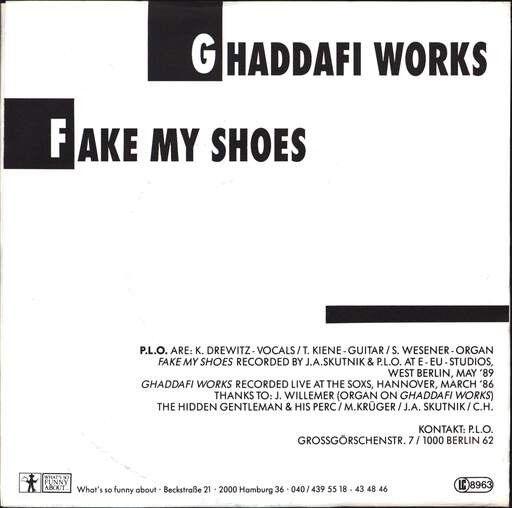 "P.L.O.: Ghaddafi Works, 7"" Single (Vinyl)"
