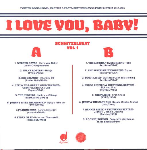 Various: Schnitzelbeat Volume 1 - I Love You, Baby! (Twisted Rock-N-Roll, Exotica & Proto-Beat Unknowns From Austria, 1957-1965), LP (Vinyl)