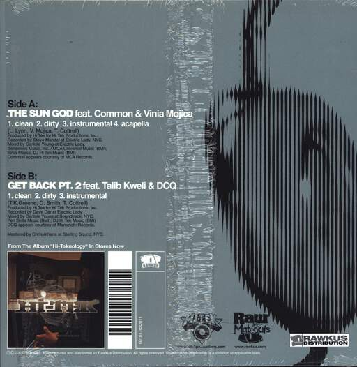 "Hi-Tek: The Sun God / Get Back Pt. 2, 12"" Maxi Single (Vinyl)"