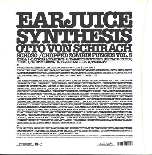 "Otto Von Schirach: Chopped Zombie Fungus Vol. 3 Earjuice Synthesis, 12"" Maxi Single (Vinyl)"