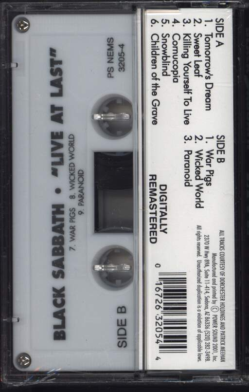 Black Sabbath: Live At Last, Compact Cassette