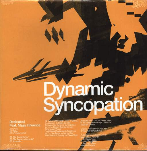 "Dynamic Syncopation: Dedicated, 12"" Maxi Single (Vinyl)"