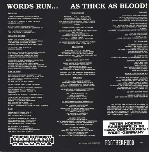 Brotherhood: Words Run...As Thick As Blood!, LP (Vinyl)