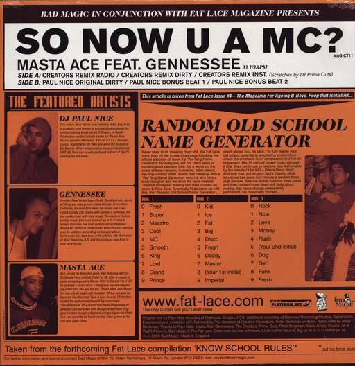 "Masta Ace: So Now U A MC?, 12"" Maxi Single (Vinyl)"