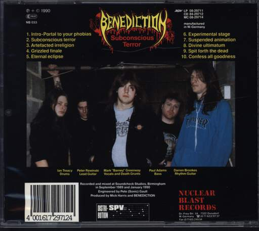 Benediction: Subconscious Terror, CD