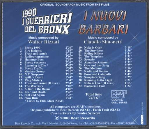 Walter Rizzati: Original Soundtrack Music From The Films: 1990 I Guerrieri Del Bronx / I Nuovi Barbari, CD
