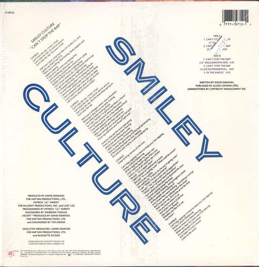 "Smiley Culture: Can't Stop The Rap, 12"" Maxi Single (Vinyl)"