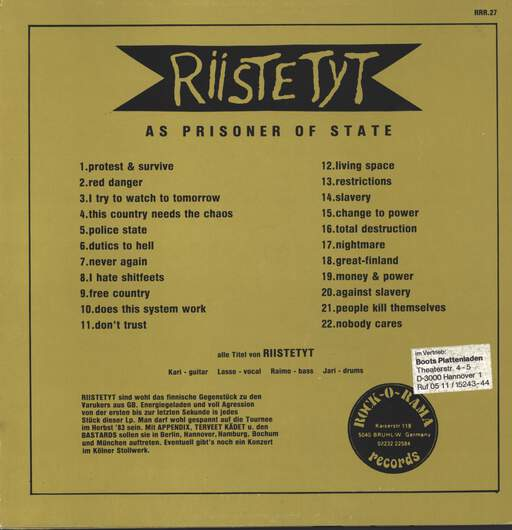 Riistetyt: As A Prisoner Of State, LP (Vinyl)
