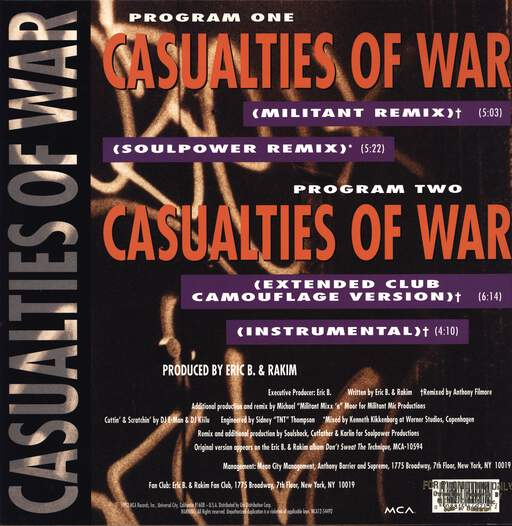 "Eric B & Rakim: Casualties Of War, 12"" Maxi Single (Vinyl)"